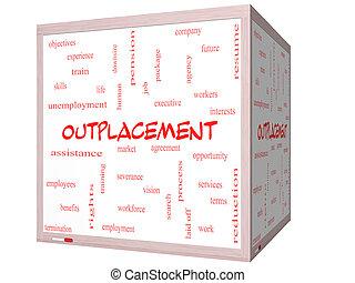 cube, mot, whiteboard, outplacement, concept, nuage, 3d