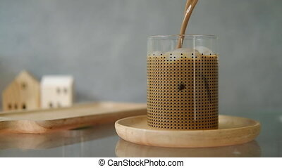 cube, mouvement, moka, glace, verre, café, verser, glacé, ...