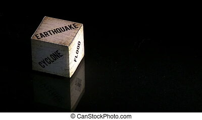 Natural disasters, concept cube, earthquake