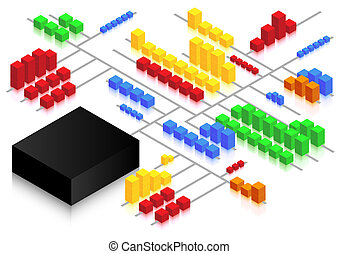 Illustration of storage and distribution network concept using cubes