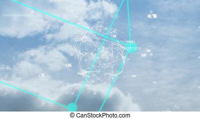 cube, nuages, connexion, rotation, réseau, tourner, gant, ...