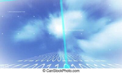 cube, nuages, ficelle, tourner, codage, fond, binaire, sur, ...