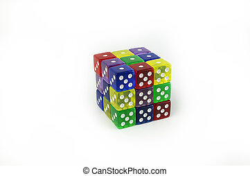 Cube of colorful six sided game dice