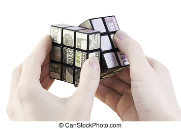 cube of money - rotate the cube of the money in the hands of