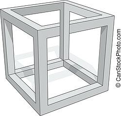 Cube optical illusion isolated on white background.
