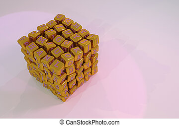 Cube or block ABC sign or symbol. For graphic design or background. 3D render.