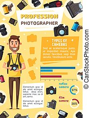 Photographer profession cartoon vector. Man with professional photography equipment, camera and optic lens, flash and film, modern emory card, photo storage and bag