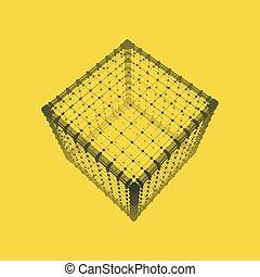Cube. Platoniquement solide. Élément géométrique en treillis pour la conception ....