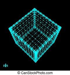 Élément géométrique en treillis pour la conception - Cube. Solide platonicien ....