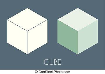 Solide cubique cubique. Illustration vectorielle de géométrie sacrée -...