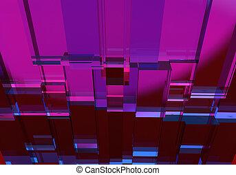 cube, pourpre, résumé, trois dimensionnel, texture.