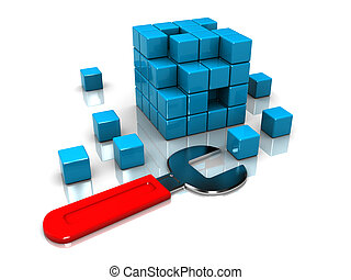 cube puzzle and wrench - abstract 3d illustration of cube...