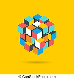 Cube Puzzle Solution Solving Problem Concept banner, vector ...