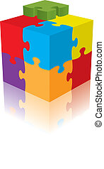 Cube puzzle, vector, 3d with a reflection