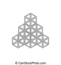Cube pyramid icon, isometric 3d style