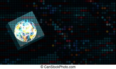 Cube Quantum computer futuristic technology digital abstract ball and polygon background