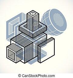 cube, résumé, forme., dimensionnel, vecteur, conception, 3d