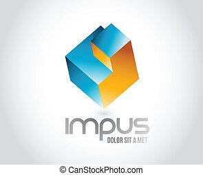 cube, résumé, template., logique, logo, puzzle