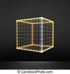 Cube. Hexaèdre commun. Solide platonicien - Cube. Régulière ...