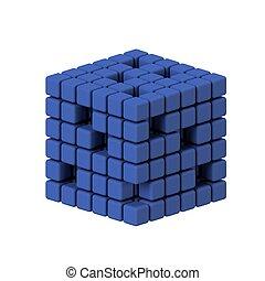 cube, render, trois dimensionnel, fond, blanc