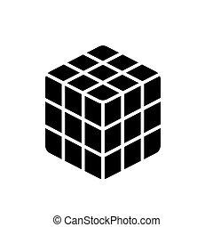 cube rubik icon, vector illustration, black sign on isolated background