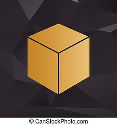 Cube sign illustration. Golden style on background with polygons.