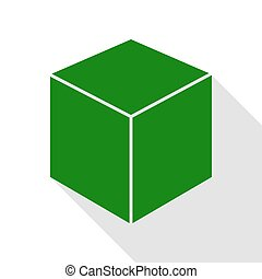 Cube sign illustration. Green icon with flat style shadow path.