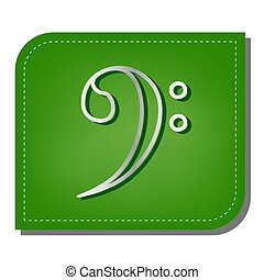 Cube sign illustration. Silver gradient line icon with dark green shadow at ecological patched green leaf. Illustration.