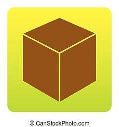 Cube sign illustration. Vector. Brown icon at green-yellow gradient square with rounded corners on white background. Isolated.