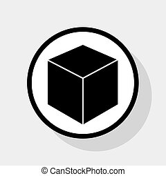 Cube sign illustration. Vector. Flat black icon in white circle with shadow at gray background.