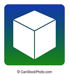 Cube sign illustration. Vector. White icon at green-blue gradient square with rounded corners on white background. Isolated.