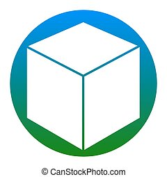 Cube sign illustration. Vector. White icon in bluish circle on white background. Isolated.