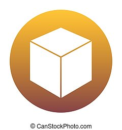 Cube sign illustration. White icon in circle with golden gradien
