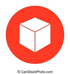 Cube sign illustration. White icon on red circle.