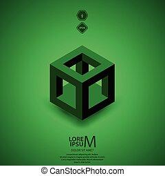 cube skeleton - Cube skeleton, illustration