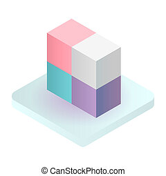 Cube solution icon, isometric style