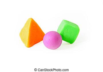 Cube, sphere and pyramid , plasticine