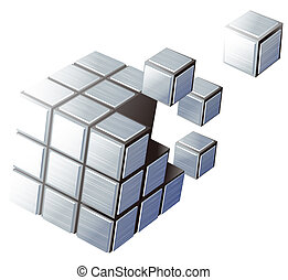 cube - illustration drawing of many beautiful blue cubes