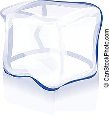 cube, symbole, glace, vecteur, illustration, icône