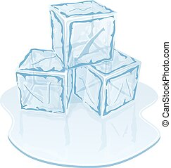 cube, tas, glace