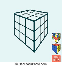 Cube toy icon. 3d combination puzzle cube.