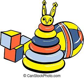 Cube toys icon, cartoon style