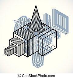 cube, tridimensionnel, forme abstraite, vecteur, conception, element.