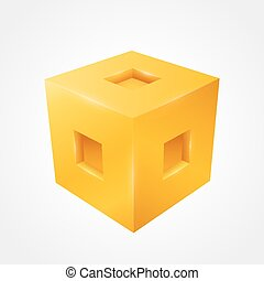 cube., vecteur, propre, illustration, tridimensionnel