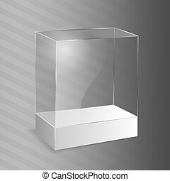 cube., verre, illustration., vecteur