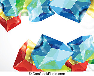cube, verre, résumé, vecteur, fond
