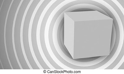 Cube - Rotating cube over circles background (seamless loop)