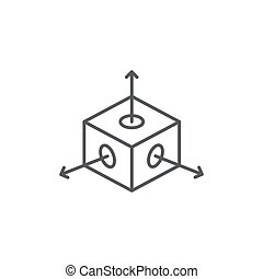 Cube with arrows vector icon symbol isolated on white background