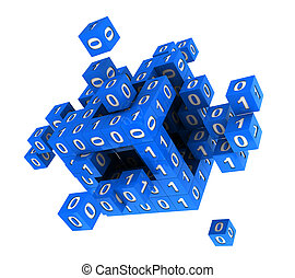 Cube with binary code - 3d abstract digital blue cube with...