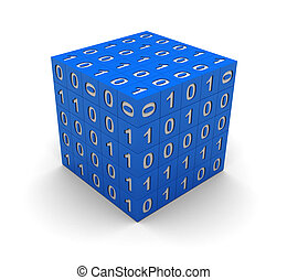 Cube with binary code - 3d technology blue cube with binary...